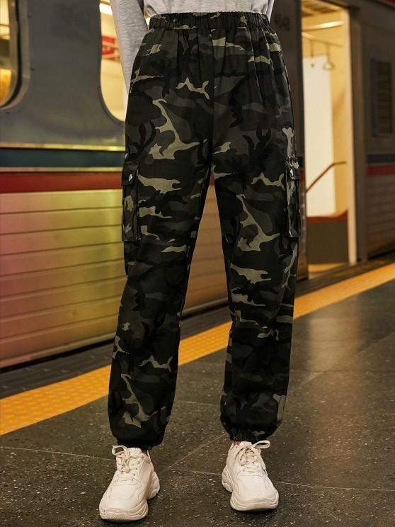 outfit Chain Flap Pockets Solid Jogger Pants - ACU CAMOUFLAGE XL