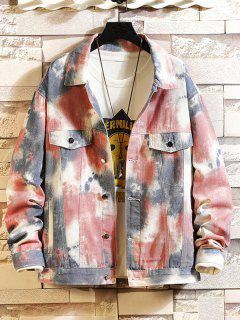 Painting Printed Button Design Casual Jacket - Multi 3xl