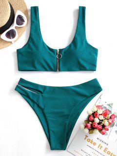 ZAFUL Bikini Recortado Con Cremallera - Azul Eléctrico M