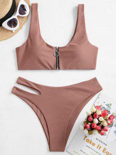 ZAFUL Zip Up Cutout Bikini Swimsuit - Khaki Rose M