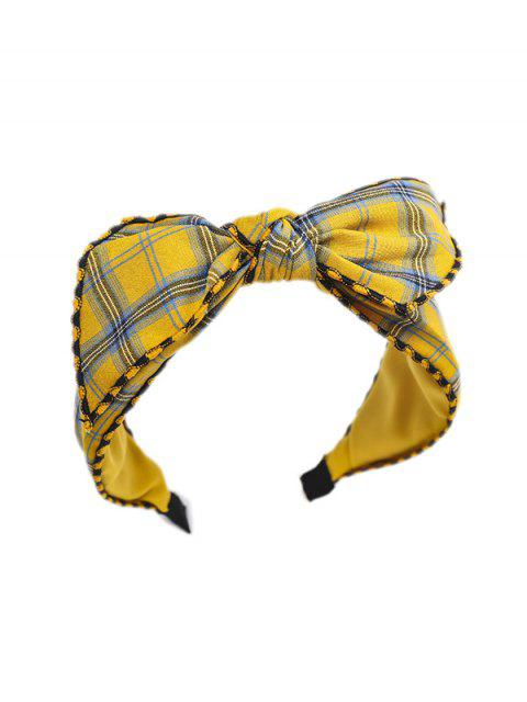 affordable Bowknot Chic Plaid Hairband - YELLOW  Mobile