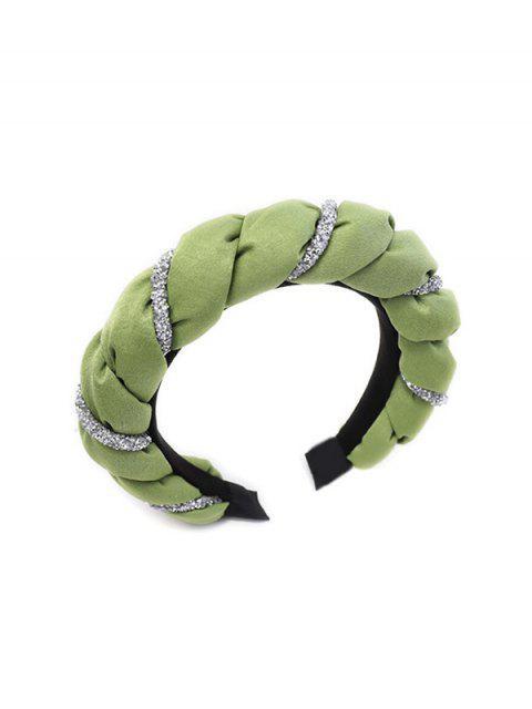 latest Two Tone Rhinestone Twist Hairband - LIGHT GREEN  Mobile
