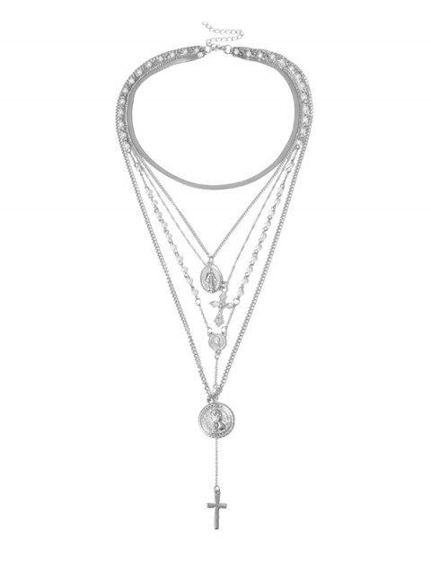 Collier Superposé Croisé en Fausse Perle - Argent  Mobile