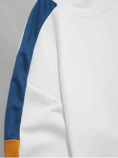 Sudadera casual de color empalmado en contraste - Blanco XL Mobile