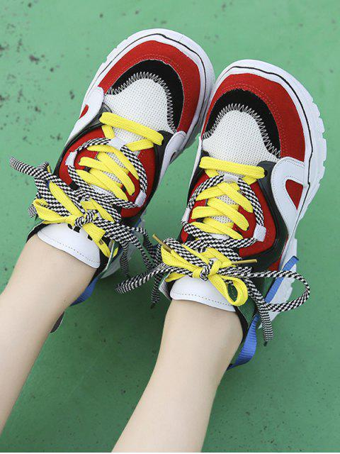 women Mix Material Color-blocking Dad Sneakers - RED EU 37 Mobile