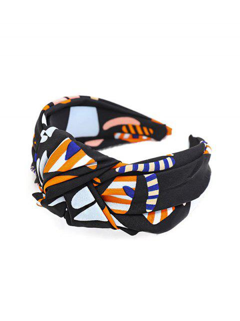 sale Stripe Print Knot Wide Hairband - BLACK  Mobile