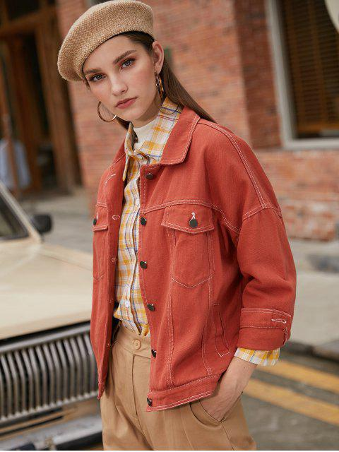 outfits Button Front Contrast Stitching Flap Pockets Shirt Jacket - ORANGE SALMON M Mobile