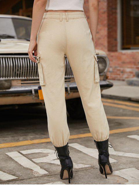 Pantalones jogger con bolsillos rasgados en color liso - Beige S Mobile