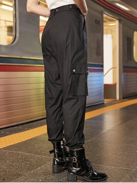 Bolsillos color sólido con cinturón de los pantalones del basculador - Negro S Mobile