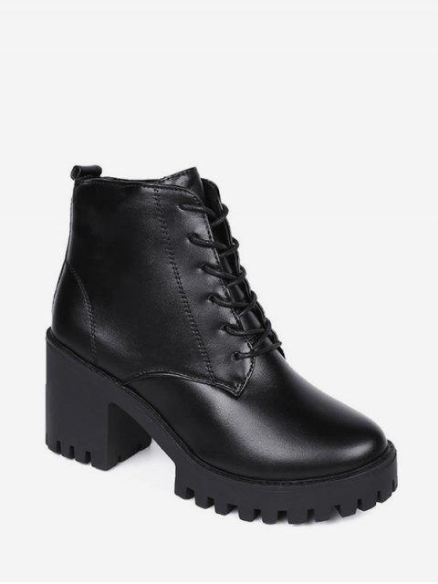 womens Solid Mid Heel Platform Short Boots - BLACK EU 38 Mobile
