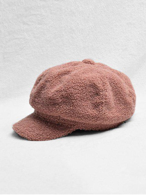 outfit Solid Color Design Fluffy Beret Hat - CHESTNUT  Mobile