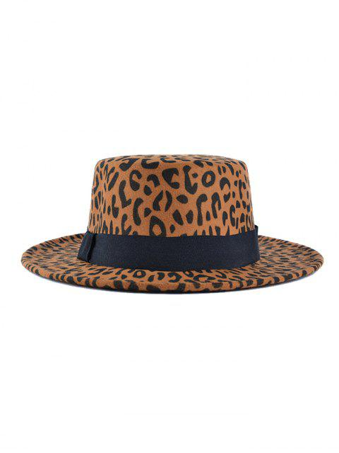 best Leopard Print Flat Top Hat - CAMEL BROWN  Mobile