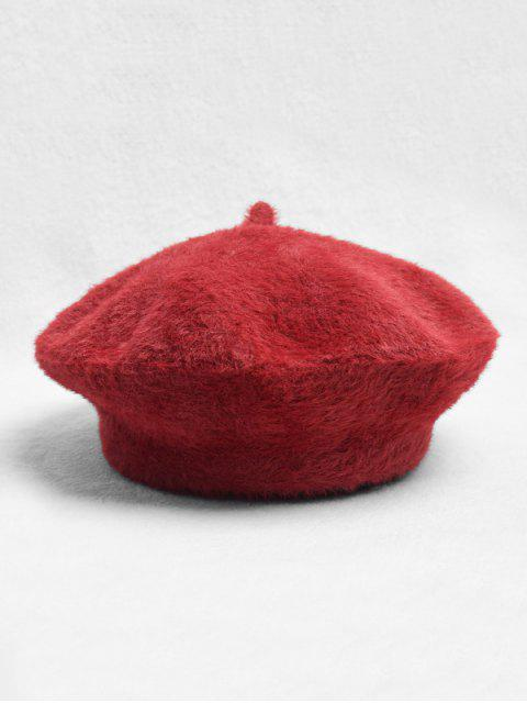 affordable Solid Color Plush Decorated Beret Hat - LAVA RED  Mobile