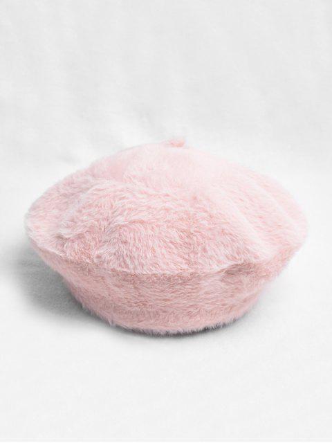 Color sólido felpa decorado sombrero de la boina - Cerdo Rosa  Mobile