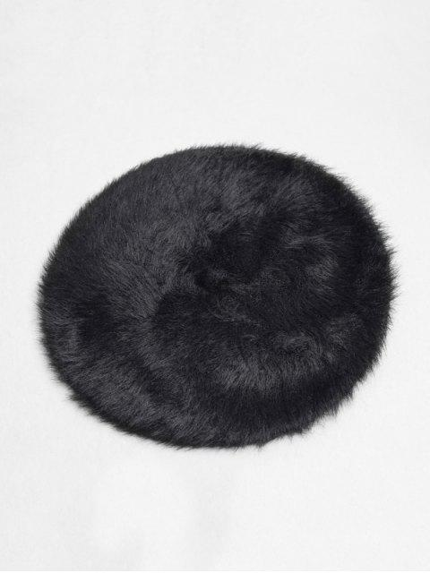 fancy Solid Color Plush Decorated Beret Hat - BLACK  Mobile