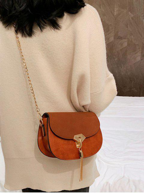 women Saddle Tassel Decorate Single Shoulder Bag - BROWN  Mobile