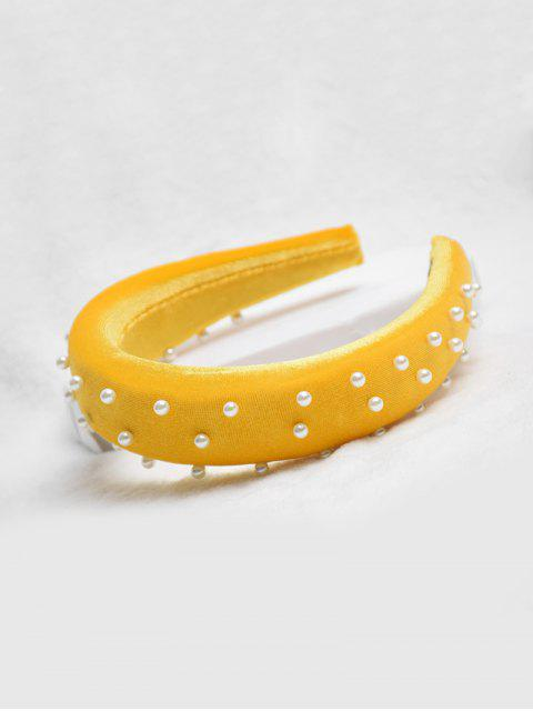 hot Chic Faux Pearl Decorated Headband - BRIGHT YELLOW  Mobile
