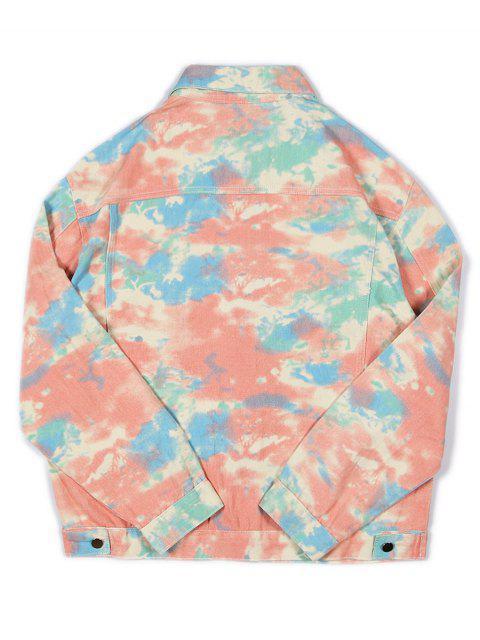 フェイクポケット装飾印刷カジュアルジャケット - マルチ 2XL Mobile