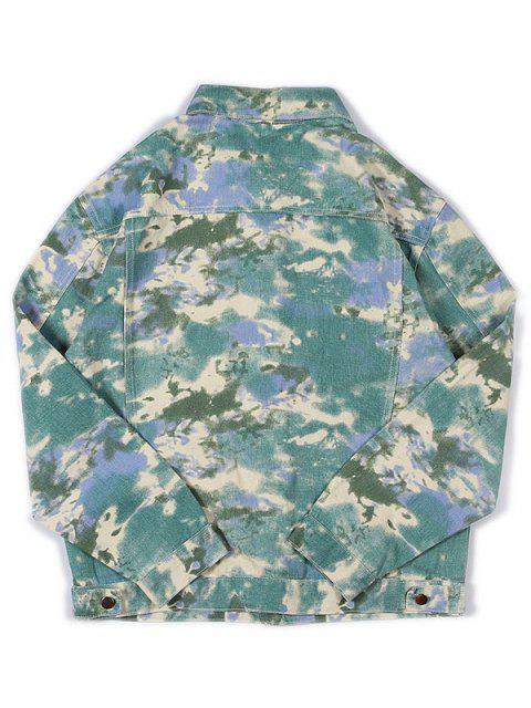 fancy Faux Pocket Design Print Casual Jacket - MULTI L Mobile