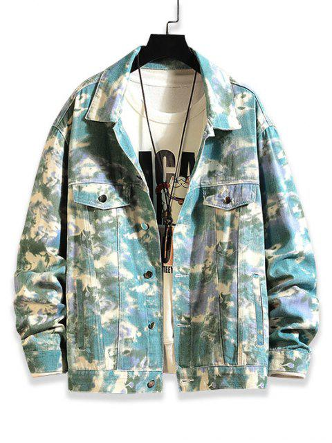 trendy Faux Pocket Design Print Casual Jacket - MULTI 2XL Mobile