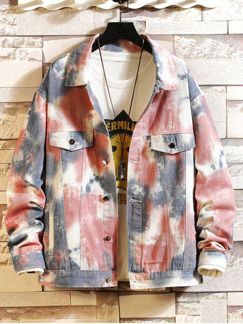trendy Painting Printed Button Design Casual Jacket - MULTI 2XL Mobile