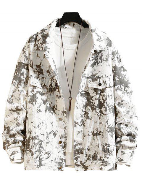 ladies Faux Pocket Decorated Print Jacket - WHITE M Mobile