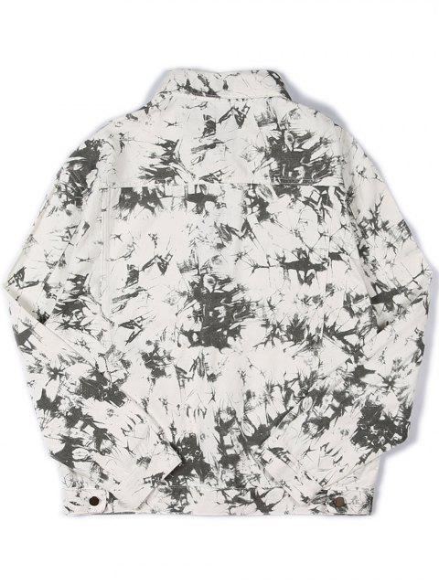 buy Faux Pocket Decorated Print Jacket - WHITE L Mobile