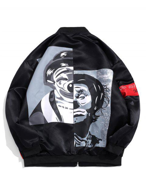 affordable Graphic Print Leisure Zipper Jacket - BLACK XL Mobile