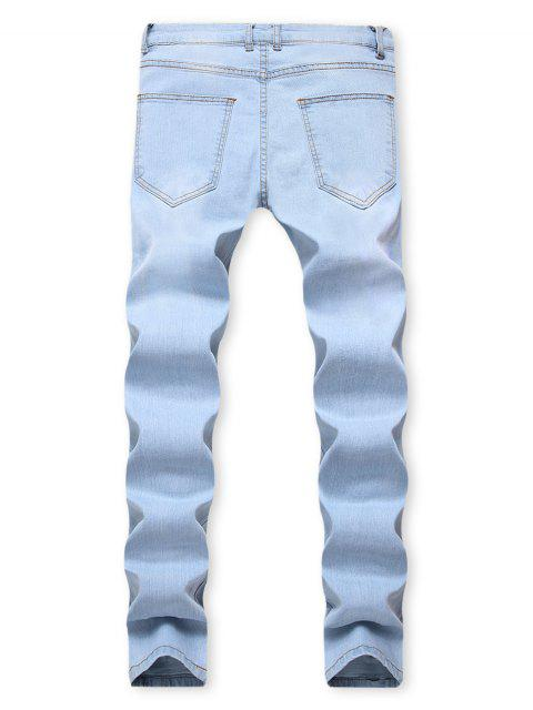unique Distressed Long Floral Embroidery Ripped Jeans - JEANS BLUE 32 Mobile