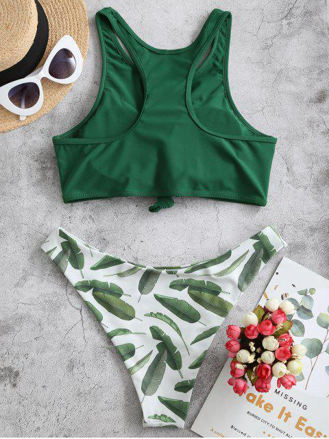 ZAFUL Maillot de Bain Bikini Noué Feuille Imprimée au Dos Nageur - Vert Mer Moyen L Mobile