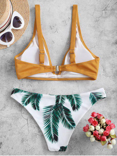 trendy ZAFUL Textured Leaf Print Bikini Swimsuit - GOLDEN BROWN S Mobile