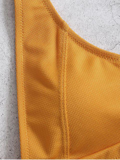 ZAFUL textura de la hoja de impresión bikini - Marrón Dorado M Mobile