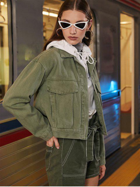Veste Chemise à Bouton-pression avec Poche - Vert Camouflage L Mobile