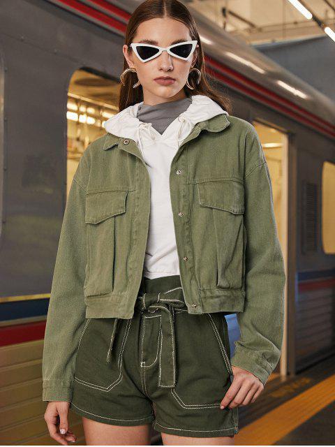 Veste Chemise à Bouton-pression avec Poche - Vert Camouflage XS Mobile