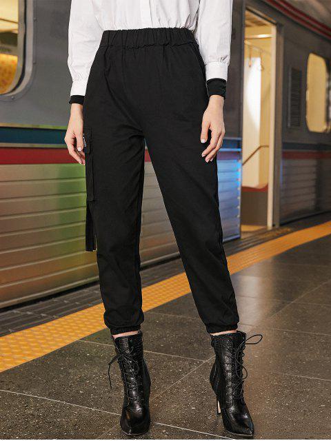 刺繍入りポケットハイウエストジョガーパンツ - ブラック S Mobile