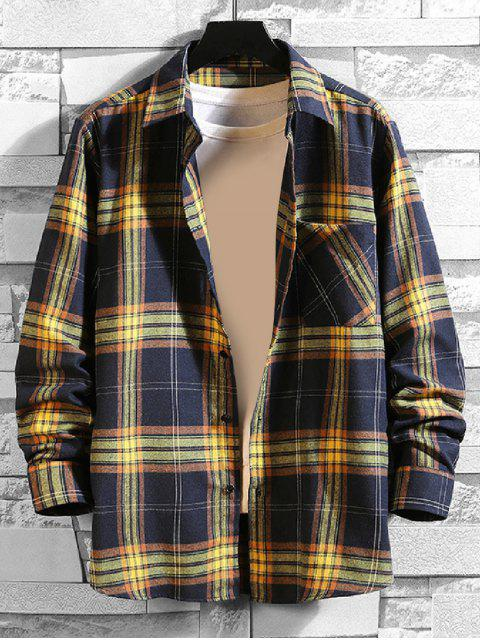 new Plaid Chest Pocket Button Shirt - CADETBLUE M Mobile