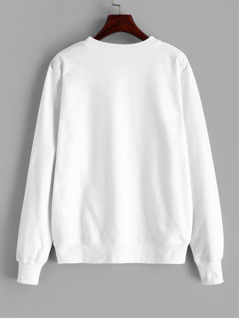 Blumen Grafisches Baumwoll Synthetic - Weiß XL  Mobile