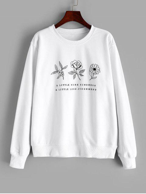 women Flower Graphic Cotton French Terry Sweatshirt - WHITE S Mobile