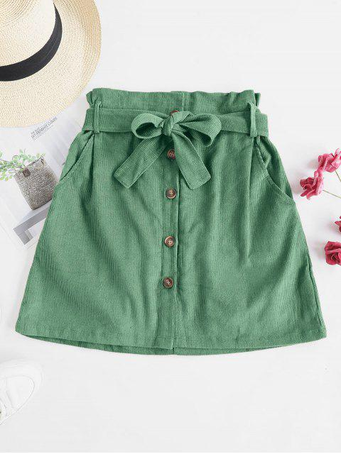 best Button Fly Corduroy Belted Paperbag Skirt - GREEN XL Mobile