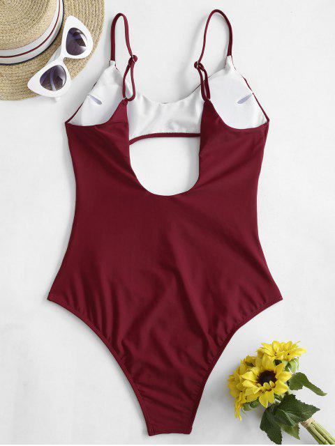 latest ZAFUL Strappy Cutout One-piece Swimsuit - RED WINE S Mobile