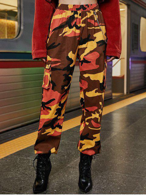 Pantalones de chándal con solapa y bolsillos con solapa de cadena - Naranja Papaya S Mobile