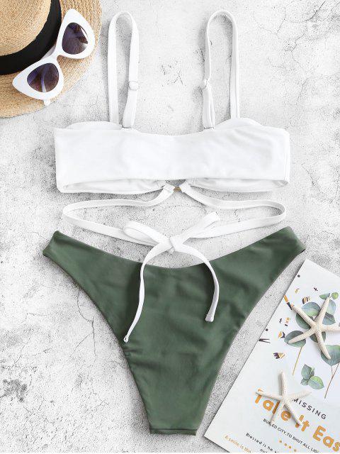 ZAFUL O型圈裹領帶高腿比基尼泳裝 - 迷彩綠色 S Mobile
