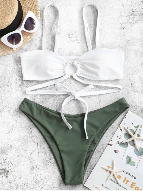 ZAFUL O型圈裹領帶高腿比基尼泳裝 - 迷彩綠色 M Mobile