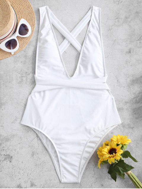ZAFUL交錯降袖窿連體泳衣 - 白色 S Mobile