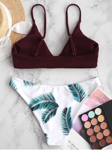outfits ZAFUL Leaves Print Padded Bikini Set - VELVET MAROON S Mobile