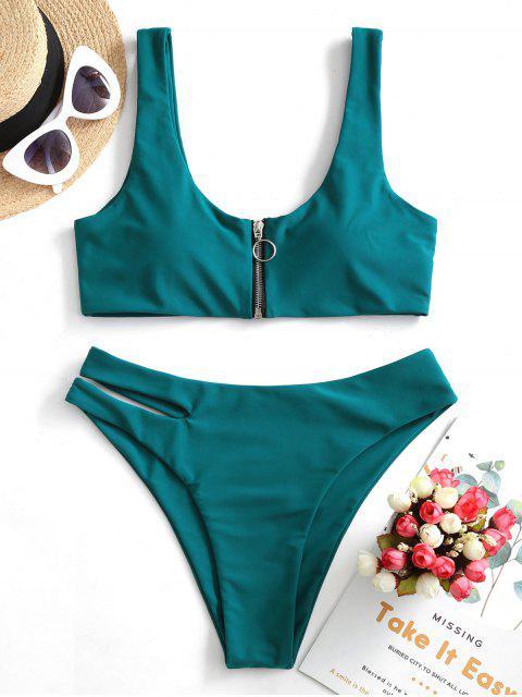 ZAFUL Maillot de Bain Bikini Découpé Zippé - Paon Bleu M Mobile
