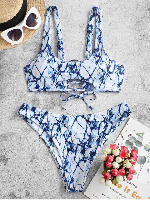 ZAFUL Maillot de Bain Bikini Découpé Teinté à Lacets - Bleu Myrtille M Mobile
