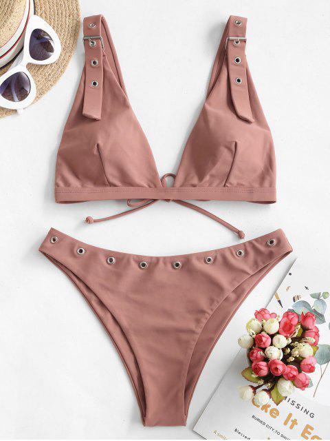 online ZAFUL Grommets Tie Buckled Bikini Swimsuit - KHAKI ROSE S Mobile