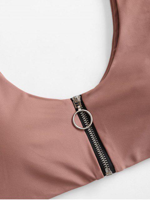 unique ZAFUL Zip Up Cutout Bikini Swimsuit - KHAKI ROSE S Mobile