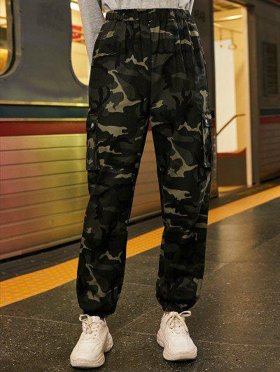 Chain Flap Pockets Solid Jogger Pants - Acu Camouflage M